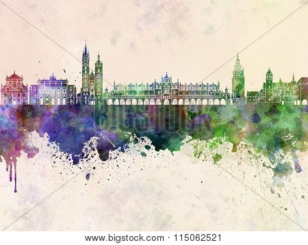 Krakow Skyline In Watercolor Background