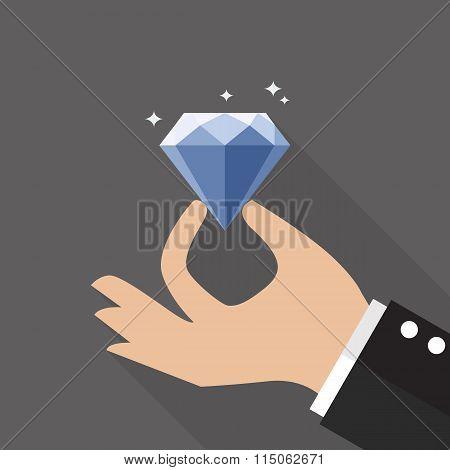 Hand With Diamond Flat Style