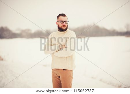 Brutal Portrait Of A Man With A Beard