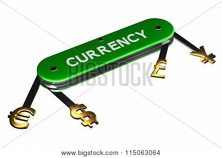 Concept: Currency Sign On Knife