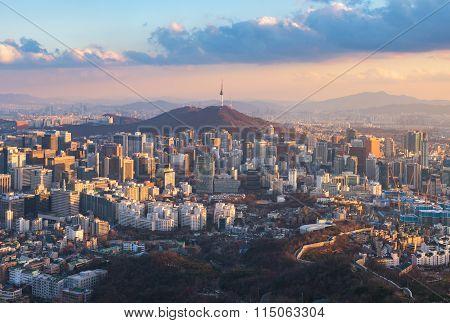 Korea,sunset Of Seoul City Skyline.