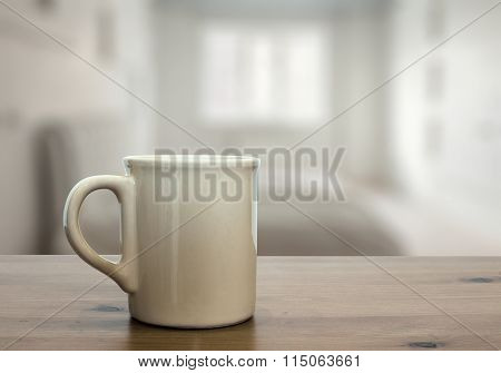 mug on wooden table in the bedroom