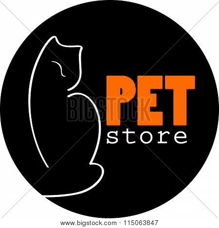 Vector pet logo design with hand drawn cat on white background.