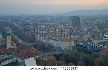 cityscape of city Graz, the capital, Styria
