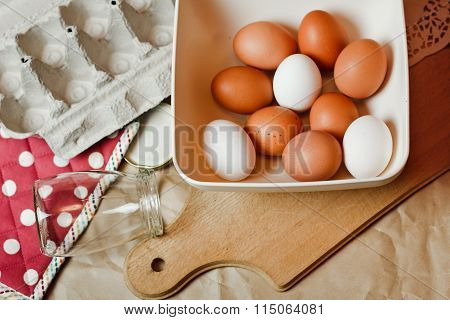 Beautiful Chicken Eggs With Red Napkin On White Wooden Background