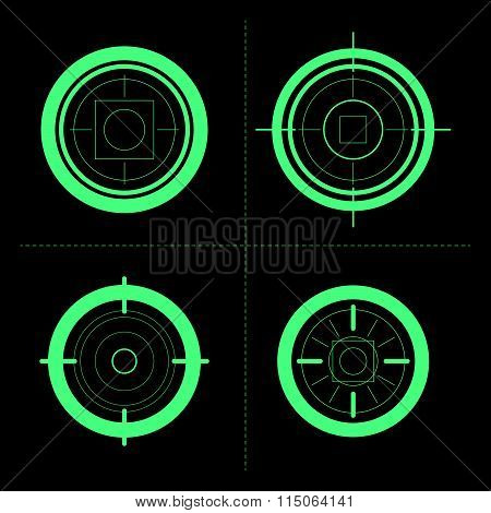 Vector collection of target flat icons.