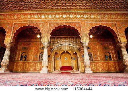 Interior Of Maharaja Palace With Gold Decoration Of 16Th Century Junagarh Fort In India