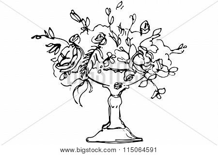Vector Sketch Of A Bouquet Of Roses In A Crystal Vase