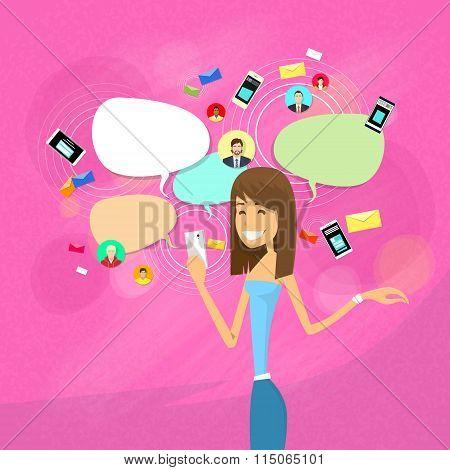 Girl Chatting Social Network Communication Concept