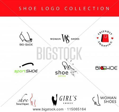 Vector flat collection of stylish modern shoe logo
