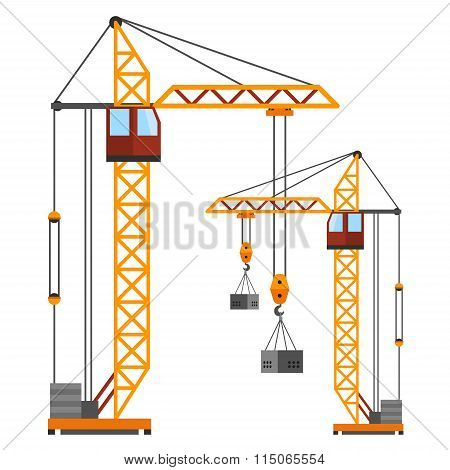 Industrial construction cranes flat style vector silhouettes