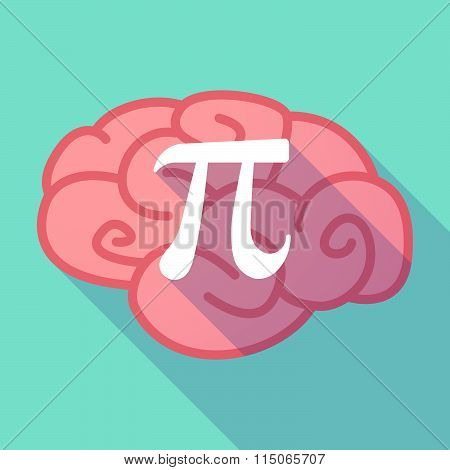 Long Shadow Brain With The Number Pi Symbol