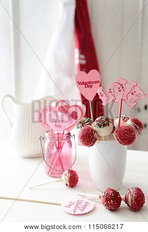 Closeup of cake pops for Valentine's Day