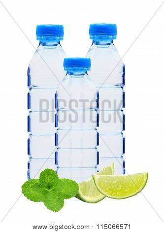 Blue Bottles With Water, Mint Herb And Lime Slices Isolated On White