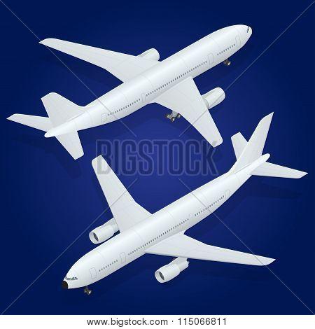 Airplane icon. Flat 3d isometric high quality transport - passenger plane .