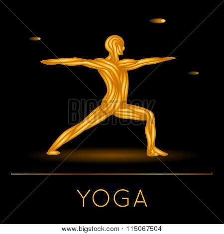 Man In Yoga Pose On Black Background.
