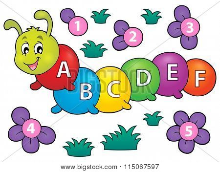Happy caterpillar with letters theme 1 - eps10 vector illustration.