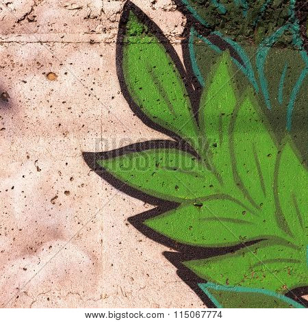 Varna - 18 November: Detail Of Graffiti On A Concrete Wall Perspective. Grungy Concrete Surface With