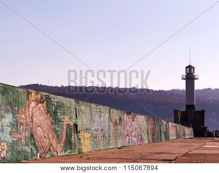 Varna - 18 November: The Lighthouse At The Seaport. Detail Of Graffiti On A Concrete Wall Perspectiv