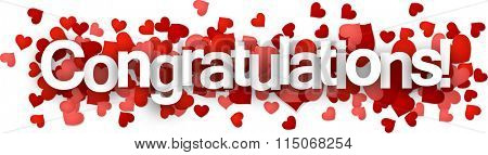 Congratulations 3d sign with hearts. Vector paper illustration.