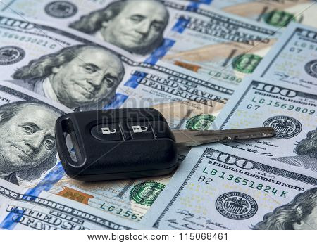 The United States dollars and car key