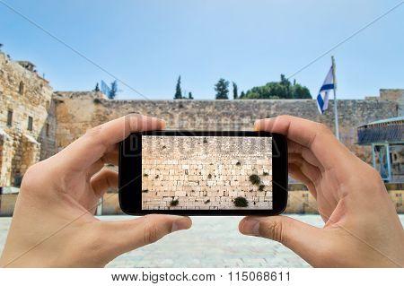 Taking Photo In Western Wall Of Jerusalem