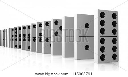White domino tiles set in a row, isolated on white