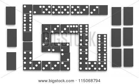 Black domino tiles set, isolated on white background