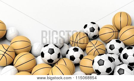 Pile of basket, volley and football balls, isolated on white with copy-space.