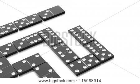White domino tiles set, isolated on white background