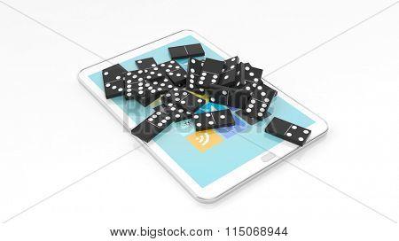 Black domino tiles randomly piled on tablet screen, isolated on white