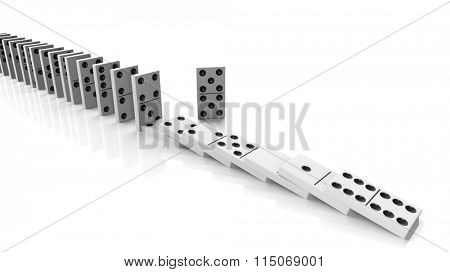 White domino tiles falling in a row with some standing, isolated on white