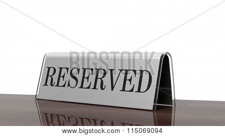 Glossy reservation sign on wooden surface, isolated on white background.