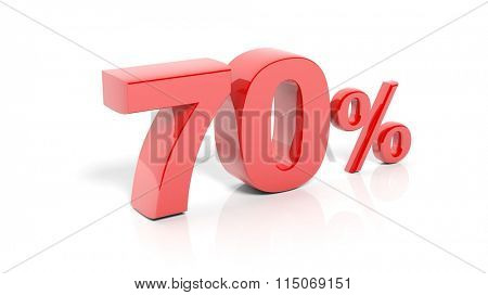 Red 70 percent number, isolated on white background.