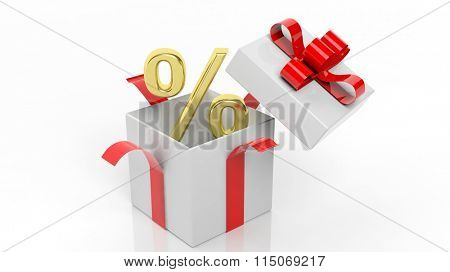 Open gift box with golden percentage symbol in it, isolated on white background.