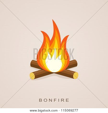 Bonfire with firewood. Vector Illustration