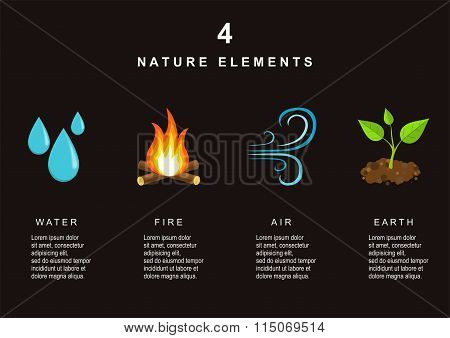Natural Elements - Water, Fire, Air and Earth.