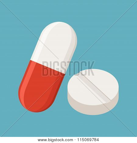 Drugs and Pills on blue background