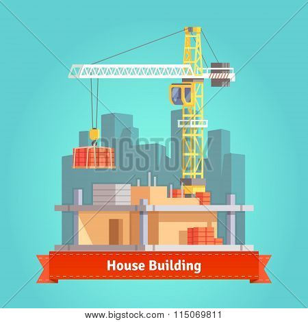Building of skyscraper house with tower crane