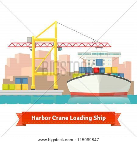 Container cargo ship loaded by big harbour crane