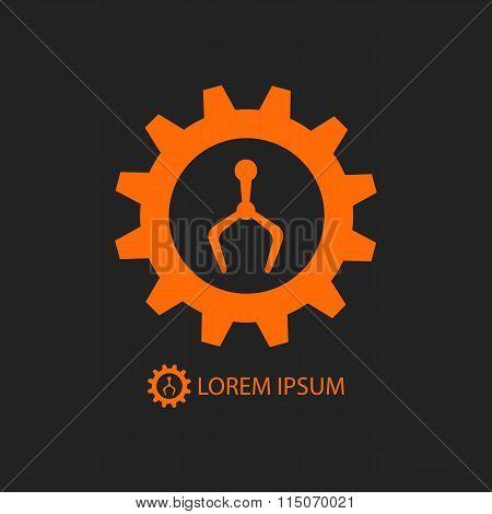 Orange robot industry logo on black