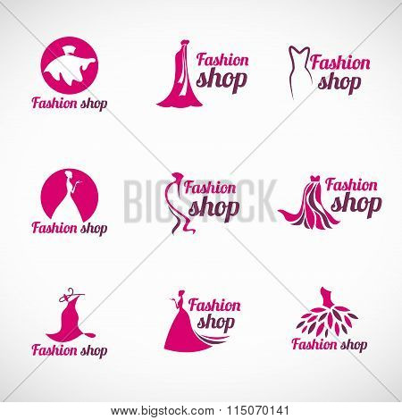 Pink Woman Dress Fashion Shop Logo Vector Set Design