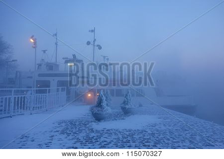 Ferry in Suomenlinna fortress island on extremely cold winter morning