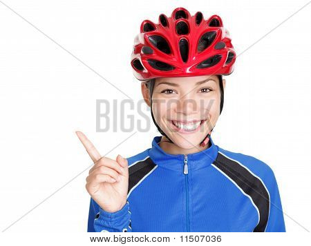 Bicycle Helmet Woman Pointing On White