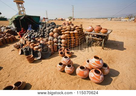 Rural Workers Making Clay Pots For Sale In A Indian Village