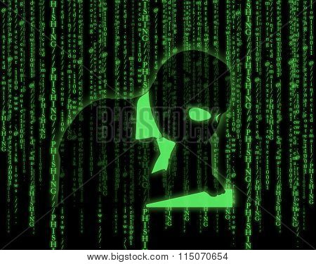 Illustration with computer hacker silhouette of hooded man