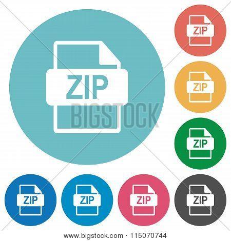Flat Zip File Format Icons