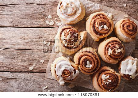 Cinnamon Rolls On The Table. Horizontal Top View