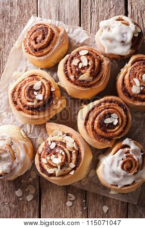Cinnamon Rolls Close Up On The Table. Vertical Top View