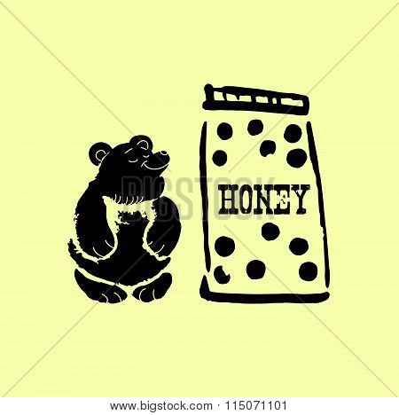 Vector illustration of big can with tasty honey and cute bear.